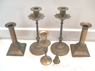 """Pair Of Engraved Brass Candlesticks 8.5""""H With Another Pair & 2 Others"""