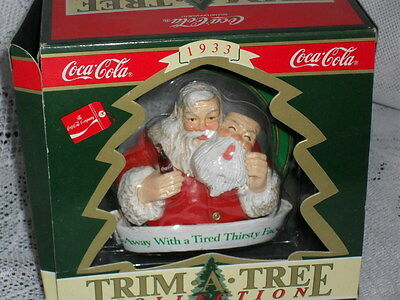 "1990 COKE Santa Claus Christmas Ornament ""AWAY WITH A TIRED THIRSTY FACE"" w/Box"