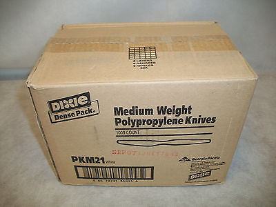 Case Dixie Medium Weight Polypropylene Knives 1000 Count White (PKM21)
