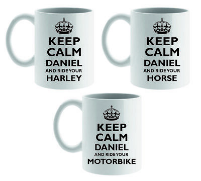 Personalised Keep Calm And Ride Mug/coaster Horse Bike Scooter Fun Mum Dad Gift
