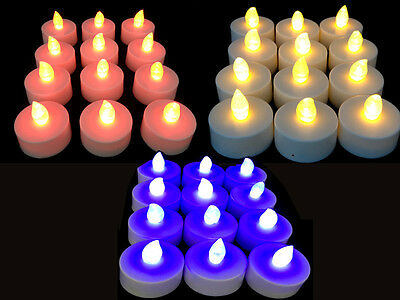 NEW 24 x CANDLE LED FLICKERING TEA LIGHT TEALIGHT CANDLES DECORATION PARTIES