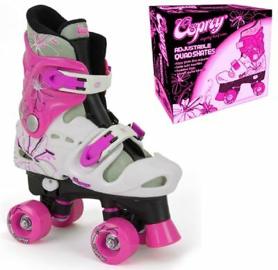 New Exclusive Hot Pink Osprey Girls Quad Skates Kids Roller Boots 3 Sizes