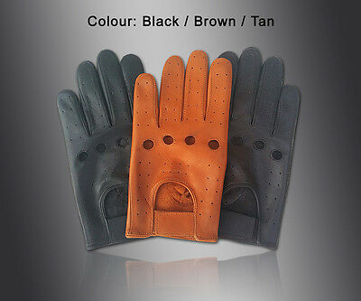 New Mens Driving Gloves Top Quality Soft Genuine Real Leather - Black Brown Tan