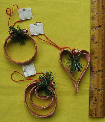 :) 3 Set Walt Disney Productions Pink Ribbon Braided Straw Christmas Ornaments