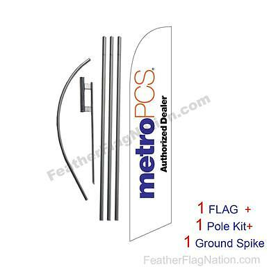 White MetroPCS Authorized Dealer Feather Banner Flag Kit with pole+spike