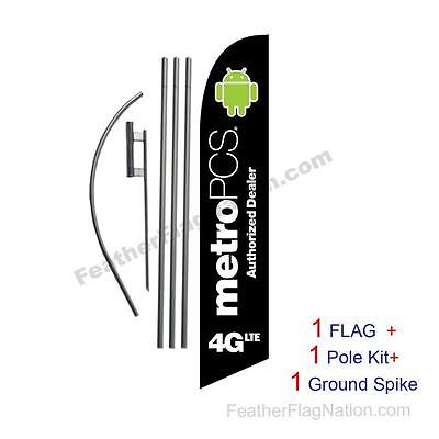 MetroPCS 4GLTE Feather Banner Swooper Flag Kit with pole+spike -black-