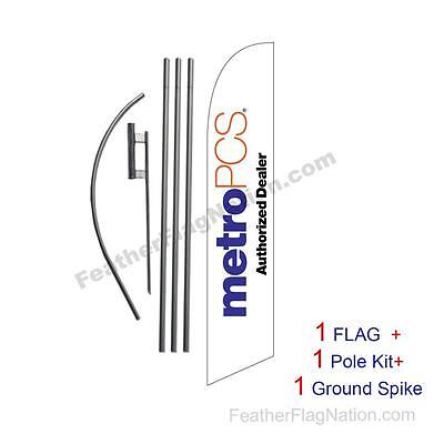 White MetroPCS Authorized Dealer Feather Banner Swooper Flag Kit w/ pole+spike