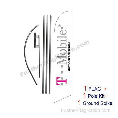 T-mobile Authorized Dealer Feather Banner Swooper Flag Kit with pole+spike