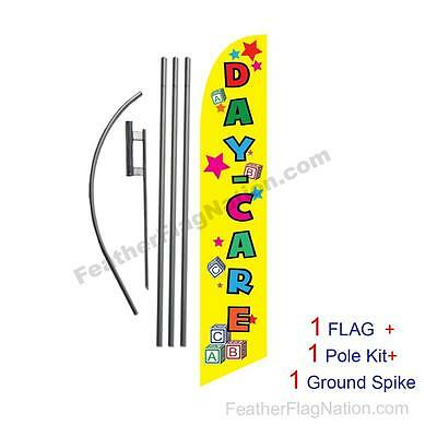 Yellow Day Care Feather Banner Swooper Flag Kit with pole+spike