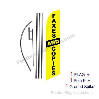 Faxes and Copies Feather Banner Swooper Flag Kit with pole+spike