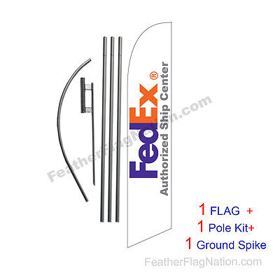 Fedex Authorized Ship Center Feather Banner Swooper Flag Kit with pole+spike