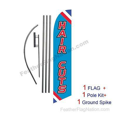 Hair Cuts Feather Banner Swooper Flag Kit with pole+spike