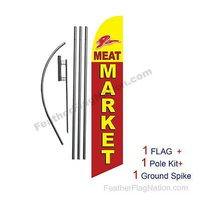 Meat Market 15' Feather Banner Swooper Flag Kit with pole+spike