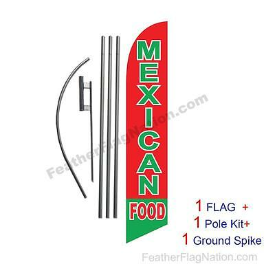 Mexican Food 15' Feather Banner Swooper Flag Kit with pole+spike