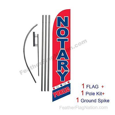 Notary Public 15' Feather Banner Swooper Flag Kit with pole+spike