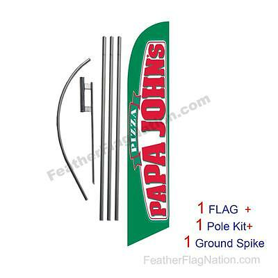 Papa Johns15' Feather Banner Swooper Flag Kit with pole+spike