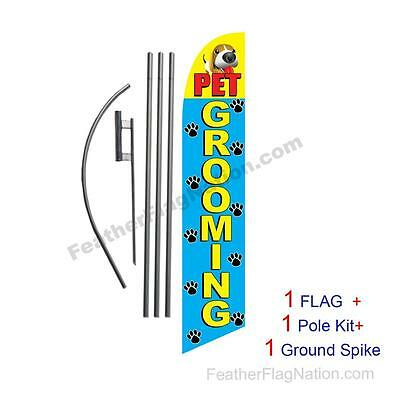 Pet Grooming 15' Feather Banner Swooper Flag Kit with pole+spike