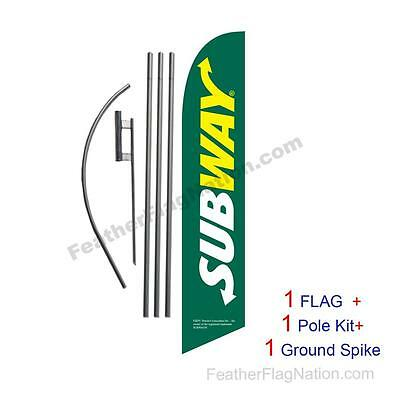 Green Subway 15' Feather Banner Swooper Flag Kit with pole+spike