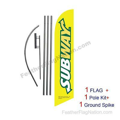 Yellow Subway 15' Feather Banner Swooper Flag Kit with pole+spike
