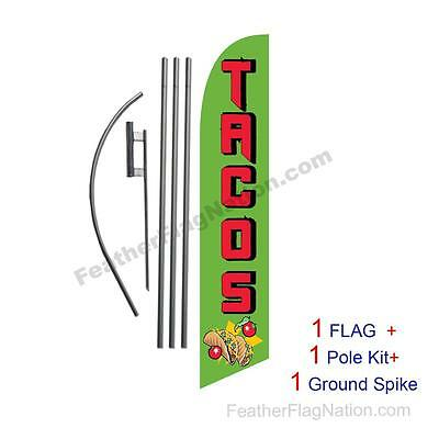 Tacos 15' Feather Banner Swooper Flag Kit with pole+spike