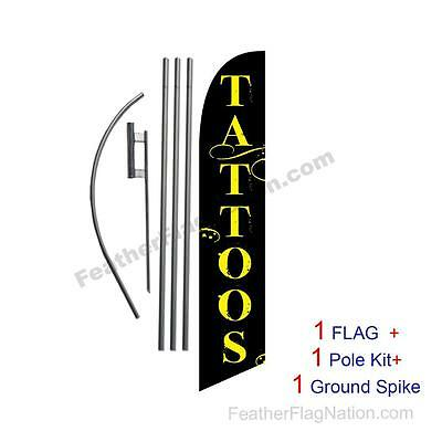 Tattoos 15' Feather Banner Swooper Flag Kit with pole+spike