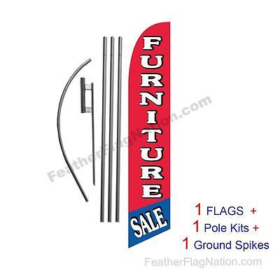 Red Blue Furniture Sale 15' Feather Banner Swooper Flag Kit with pole+spike