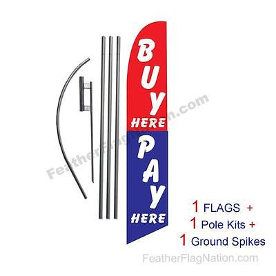Buy Here Pay Here 15' Feather Banner Swooper Flag Kit with pole+spike