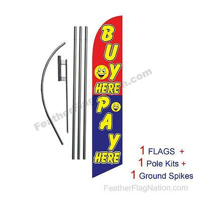 Buy Here Pay Here Smiley 15' Feather Banner Swooper Flag Kit with pole+spike