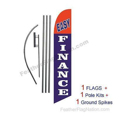 Easy Finance 15' Feather Banner Swooper Flag Kit with pole+spike