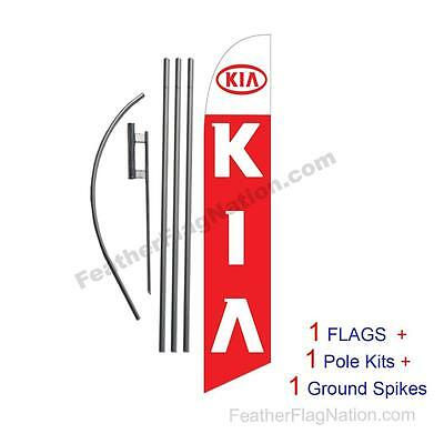 Custom KIA 15' Feather Banner Swooper Flag Kit with pole+spike