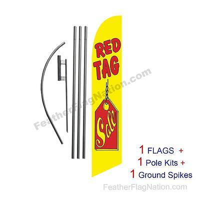 Red Tag Sale 15' Feather Banner Swooper Flag Kit with pole+spike