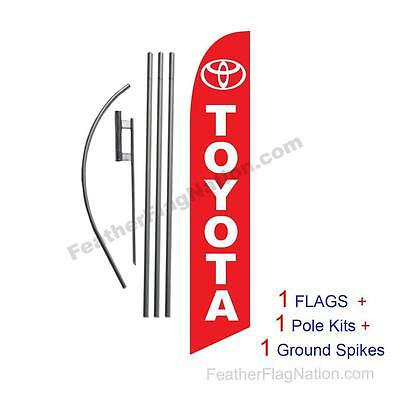 Custom red TOYOTA 15' Feather Banner Swooper Flag Kit with pole+spike
