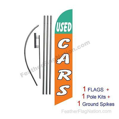 Used Cars (green and orange) 15' Feather Banner Swooper Flag Kit with pole+spike