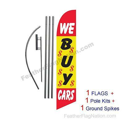 We Buy Cars 15' Feather Banner Swooper Flag Kit with pole+spike
