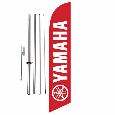 Custom Red Yamaha 15' Feather Banner Swooper Flag Kit with pole+spike  (music)