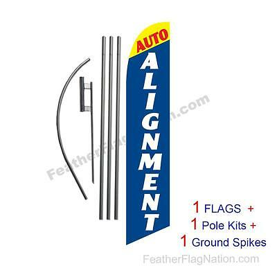 Auto Alignment Here 15' Feather Banner Swooper Flag Kit with pole+spike