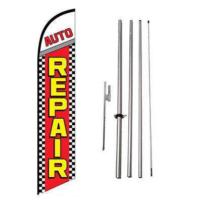 Auto Repair 15' Feather Banner Swooper Flag Kit with pole+spike