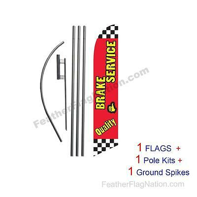 Quality Brake Service 15' Feather Banner Swooper Flag Kit with pole+spike