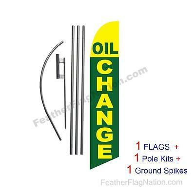 Oil Change (green & yellow) 15' Feather Banner Swooper Flag Kit with pole+spike