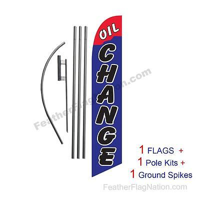 Oil Change (red and blue) 15' Feather Banner Swooper Flag Kit with pole+spike