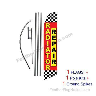 Radiator Repair 15' Feather Banner Swooper Flag Kit with pole+spike