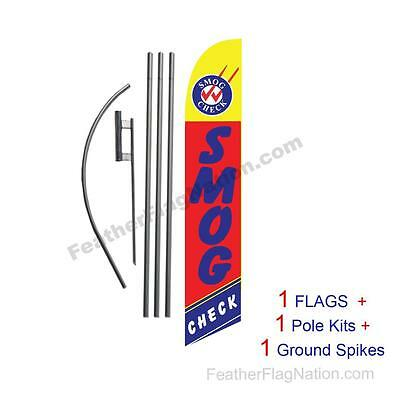 Smog Check (red and yellow) 15' Feather Banner Swooper Flag Kit with pole+spike