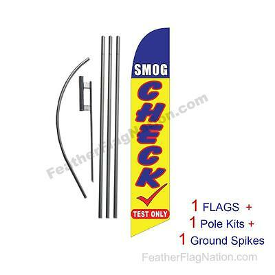 Smog Check (blue and yellow) 15' Feather Banner Swooper Flag Kit with pole+spike