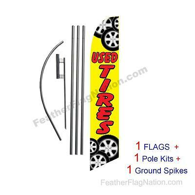 Used Tires 15' Feather Banner Swooper Flag Kit with pole+spike