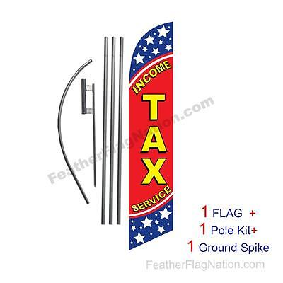 Income Tax Service (stars) 15' Feather Banner Swooper Flag Kit with pole+spike