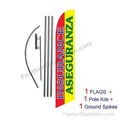 Insurance Aseguranza 15' Feather Banner Swooper Flag Kit with pole+spike