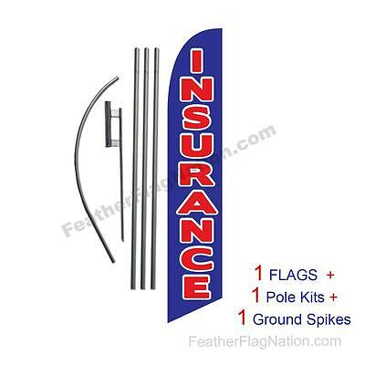 Insurance (blue) 15' Feather Banner Swooper Flag Kit with pole+spike