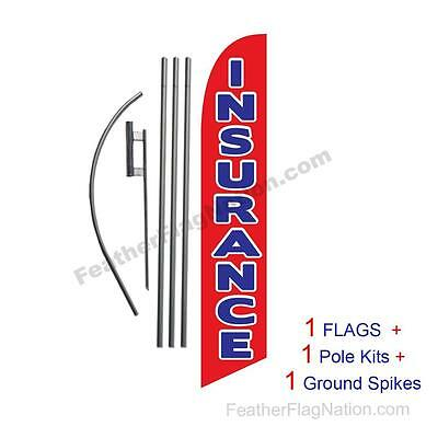 Insurance (red) 15' Feather Banner Swooper Flag Kit with pole+spike