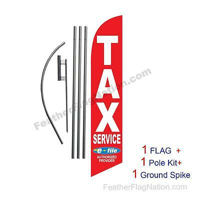 Tax Service E-file red 15' Feather Banner Swooper Flag Kit with pole+spike