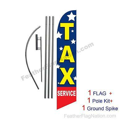 Tax Service (stars) 15' Feather Banner Swooper Flag Kit with pole+spike